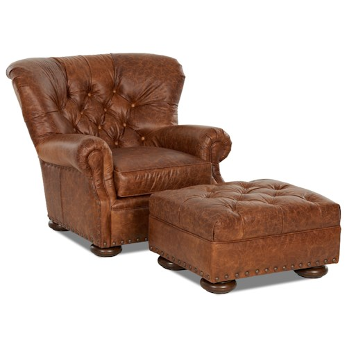Elliston Place Aspen Tufted Leather Chair and Ottoman Set