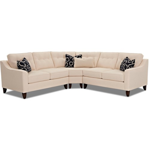Klaussner Audrina Contemporary 3 Piece Sectional with Wedge