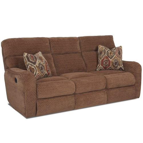 Klaussner Axis 25803 Reclining Sofa with Throw Pillows
