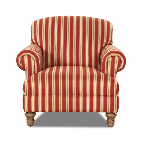 Elliston Place Bailey Traditional Chair with Rolled Arms and Turned Feet