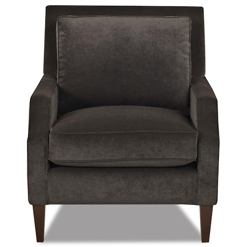 Klaussner Becca Contemporary Upholstered Arm Chair with Track Arms