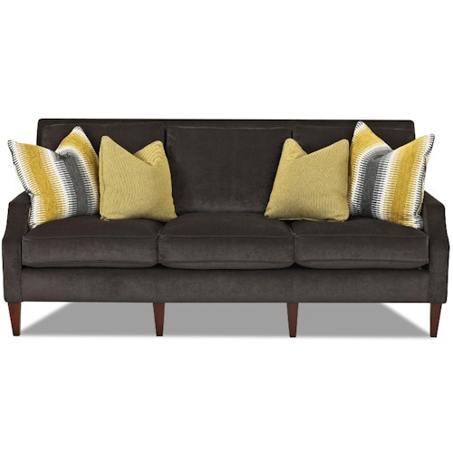 Klaussner Becca Contemporary Three Seat Sofa with Slim Track Arms