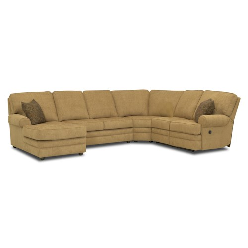 Klaussner Belleview Reclining Sectional with Left-Side Chaise