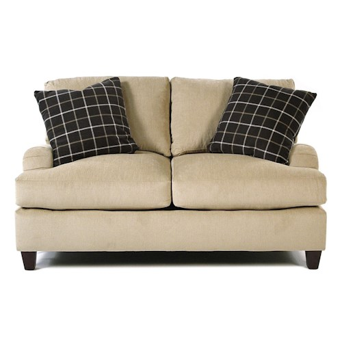 Simple Elegance Londoner Casual Love Seat with Loose Pillow Back and Exposed Wood Legs