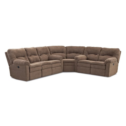 Klaussner Bennington Casual 3 Piece Power Reclining Sectional Sofa