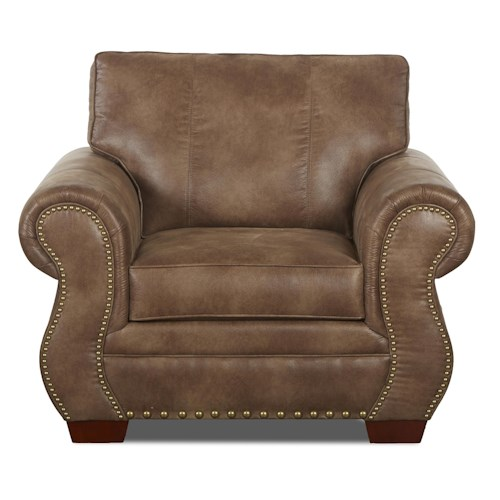 Elliston Place Blackburn Traditional Chair with Rolled Arms and Nailhead Trim