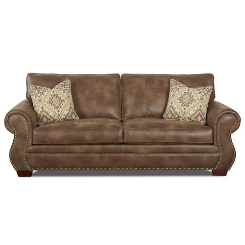 Klaussner Blackburn Traditional Sofa with Rolled Arms and Nailhead Trim