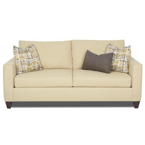 Elliston Place Bosco Contemporary Love Seat with Loose Back Pillows and Track Arms