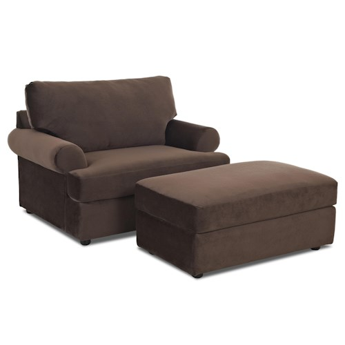 Klaussner Briggs Casual Chair and Ottoman Set
