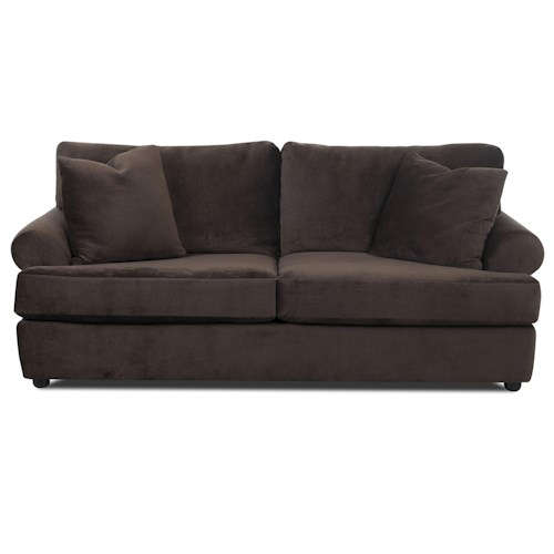 Klaussner Briggs Casual Two-Over-Two Sofa with Rolled Arms