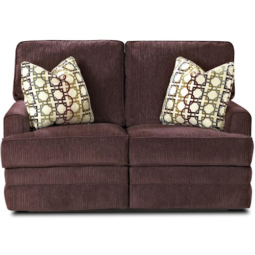 Klaussner Callahan Casual Reclining Love Seat with Track Arms with Pillows