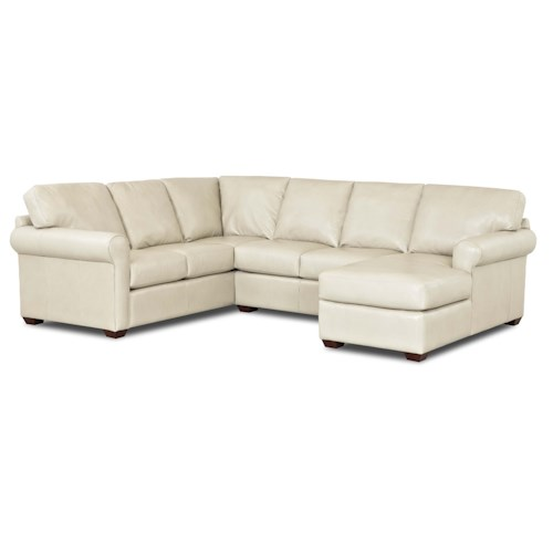 Klaussner Canoy Transitional Sectional Sofa with RAF Chaise