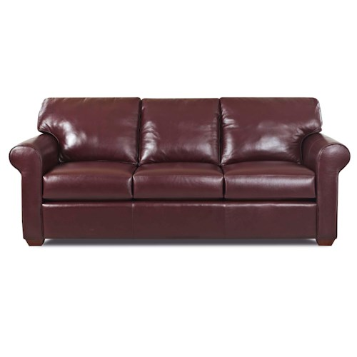 Elliston Place Canoy Transitional Sofa with Rolled Arms and Exposed Wood Feet