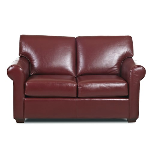 Elliston Place Canoy Transitional Loveseat with Rolled Arms and Exposed Wood Feet