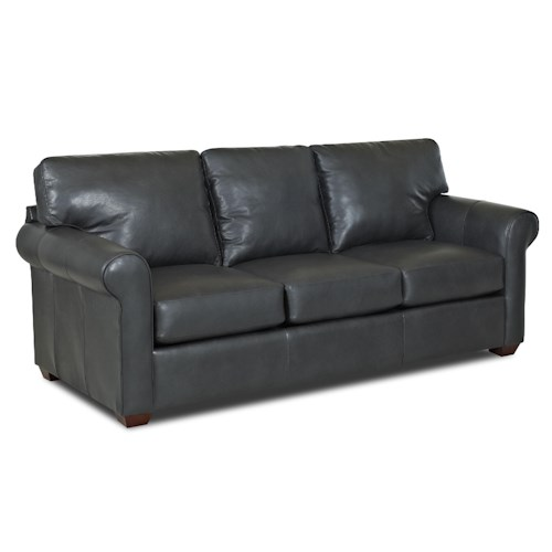 Simple Elegance Cascade Transitional Sofa with Rolled Arms and Exposed Wood Feet