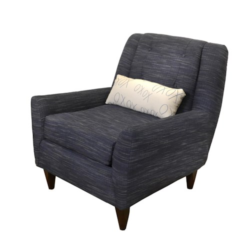 Elliston Place Carly Contempoary Chair with Track Arms and Exposed Wood Block Legs