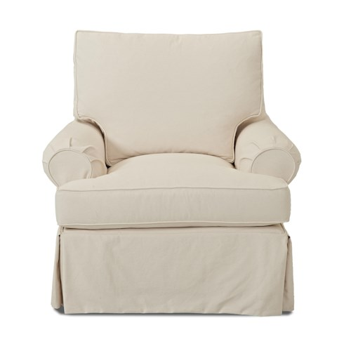 Elliston Place Carolina D750 Casual Slip Cover Chair with Down Blend Cushions