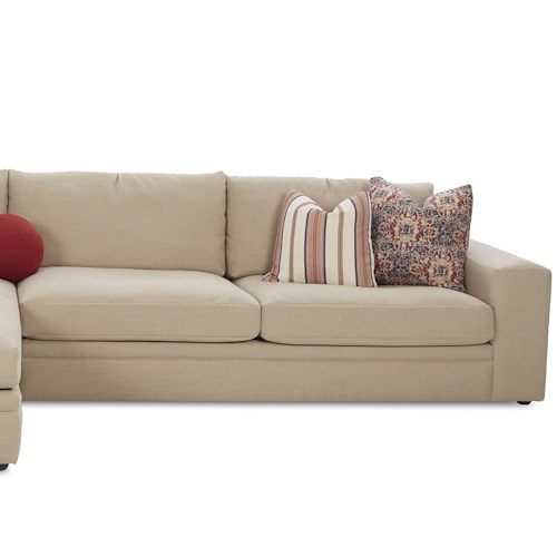 Klaussner Casa Mesa Casual Right Arm Facing Love Seat with Track Arms and Loose Back Pillows