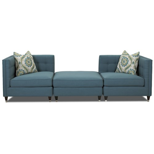 Elliston Place Celeste Contemporary Three Piece Sectional Sofa with Tufting