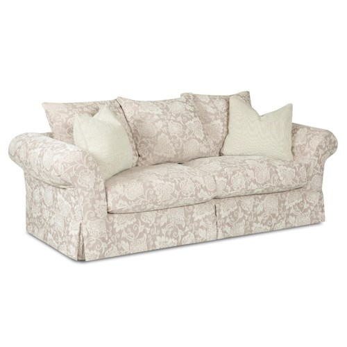 Klaussner Charleston Sofa with Scatterback Pillows and Rolled Arms