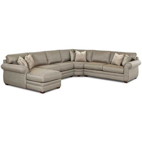 Klaussner Clanton Transitional Sectional Sofa with Left Chaise and Full Sleeper