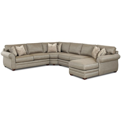 Elliston Place Clanton Transitional Sectional Sofa with Right Chaise and Full Sleeper