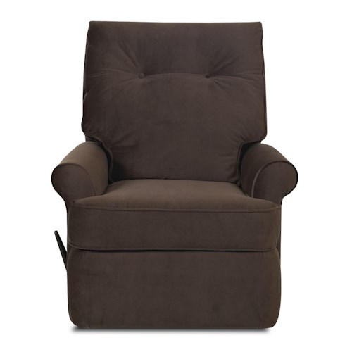 Klaussner Clearwater Transitional Reclining Rocking Chair with Rolled Arms and Welted Trim