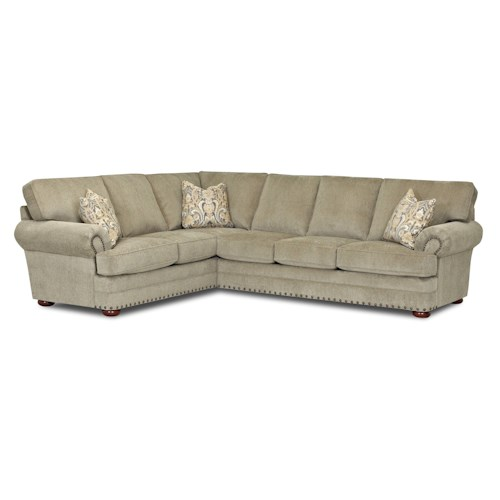 Klaussner Cliffside  Traditional 2 Piece Sectional Sofa