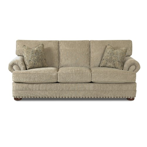 Klaussner Cliffside  Traditional Styled Sofa with Nail Head Accent Trim