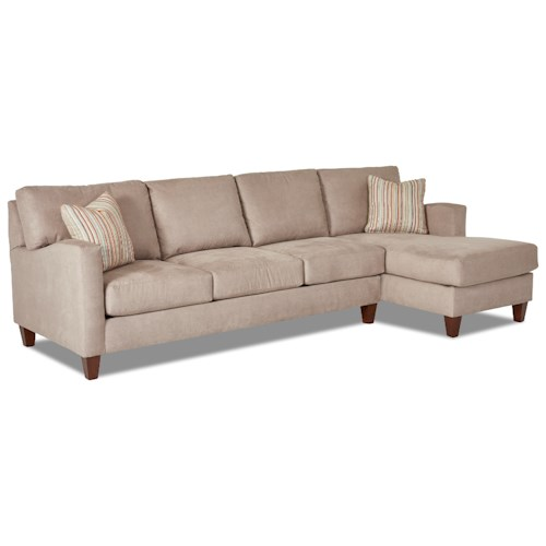Klaussner Colleen Two Piece Stationary Sectional with RAF Chaise
