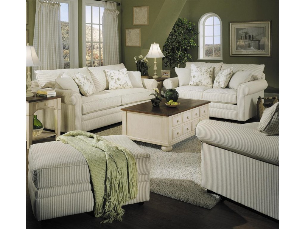 Shown With Sofa, Chair, and Ottoman