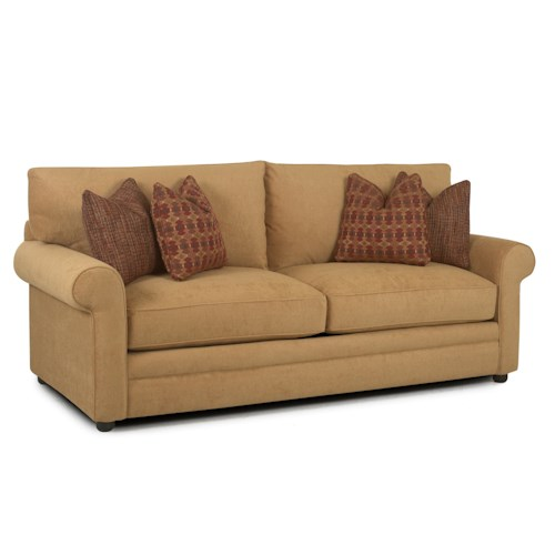 Elliston Place Comfy Casual Stationary Sofa with Rolled Arms, Unattached Back and Welt Detail