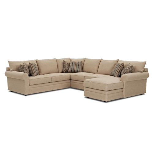 Klaussner Comfy Casual Sectional Sofa with Chaise