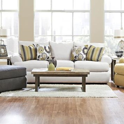 Elliston Place Cora Casual Three Seat Sofa with Rolled Arms