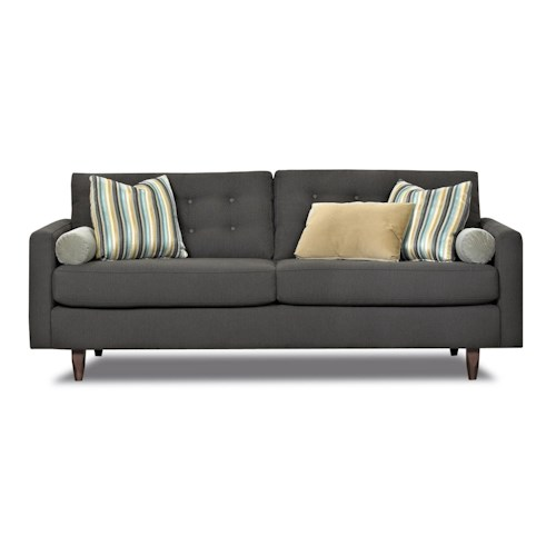 Elliston Place Craven Contemporary Button-Tufted Sofa with Tall Block Legs