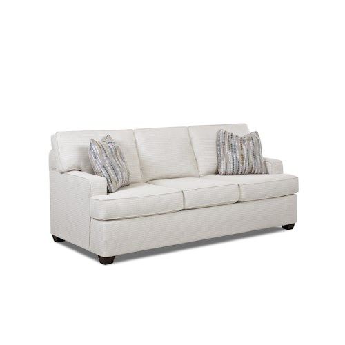 Elliston Place Cruze Contemporary Stationary Sofa with Track Arms, and T-Cushions with Welt Trim