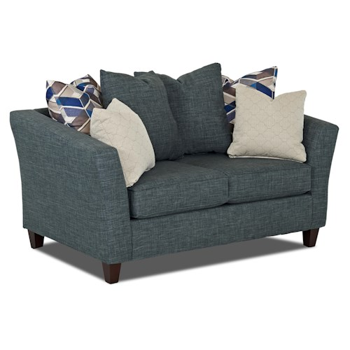 Klaussner Culpepper Contemporary Loveseat with Tuxedo Arms