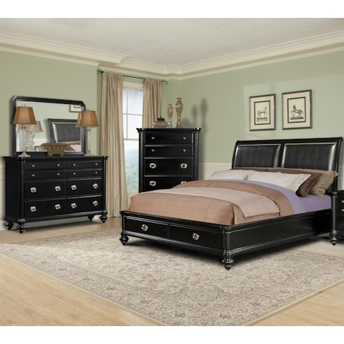 Morris Home Furnishings Darlington 5 Piece Queen Upholstered Bedroom Group