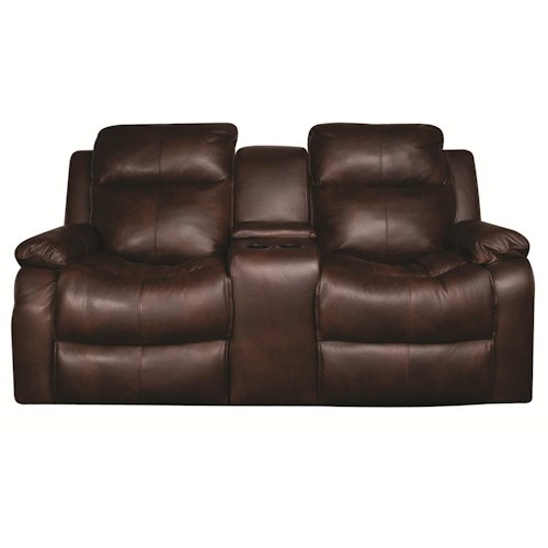 Elliston Place Darius Leather-Match* PWR Reclining Loveseat with Console