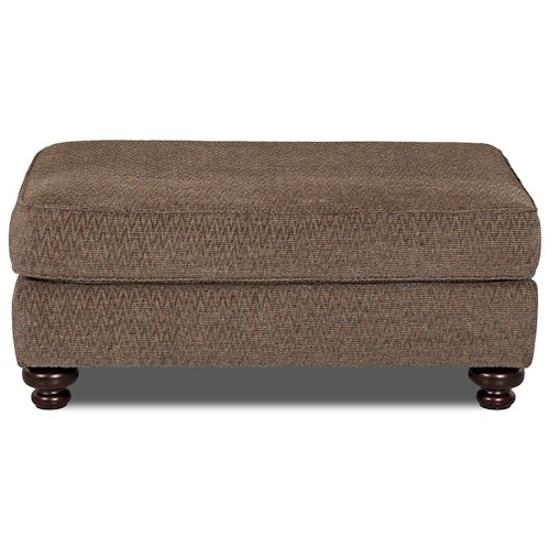 Klaussner Declan Traditional Oversized Ottoman with Turned Wood Legs
