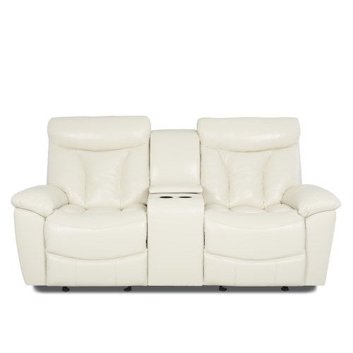 Klaussner Deluxe Casual Reclining Love Seat with Console