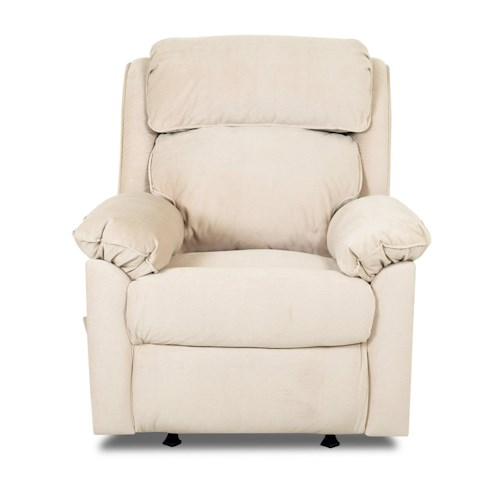 Klaussner Destin  Casual Manual Reclining Chair with Pillow Arms and Neck Support