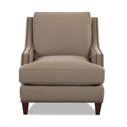 Klaussner Duchess Transitional Nailhead Wing Back Chair with Blend Down Cushions