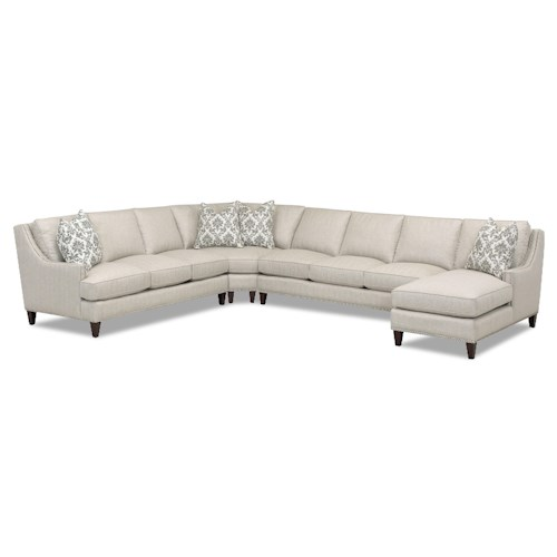 Klaussner Duchess Transitional 4 Piece Sectional with Chaise