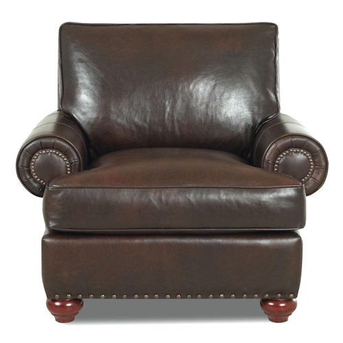 Elliston Place Ellington  Nail Head Trim Leather Chair