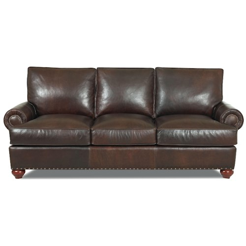 Klaussner Ellington  Nail Head Trim Leather Sofa