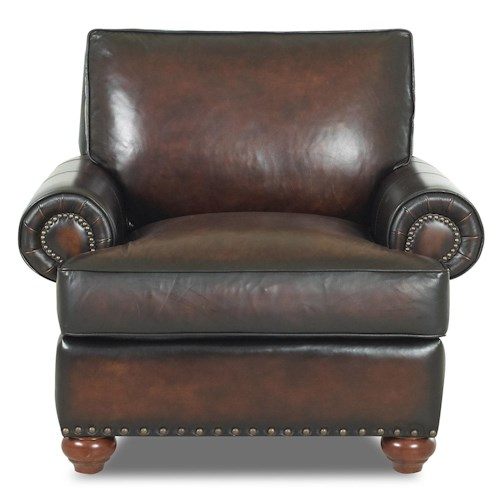 Klaussner Ellington  Nail Head Trim Leather Chair