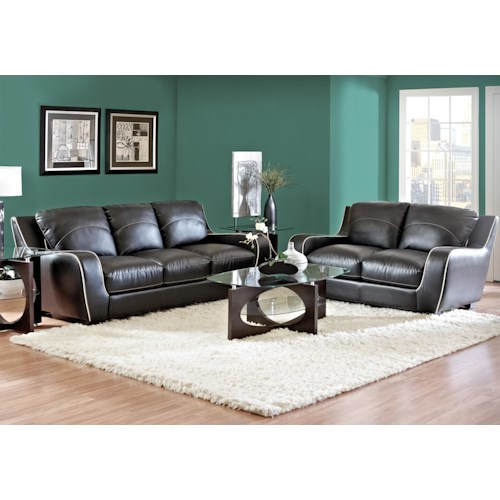 Morris Home Furnishings Ezekial 2 Piece Stationary Sofa and Loveseat Set