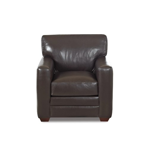 Klaussner Fedora Contemporary Chair with Track Arms