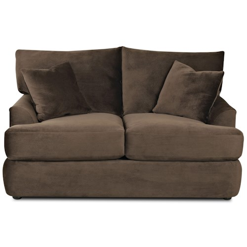 Elliston Place Findley Contemporary Loveseat with Rounded Track Arms